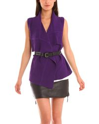 Charlotte Ronson Belted Sweater Vest - Lyst
