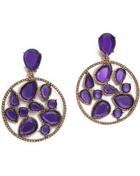 Oscar de la Renta Round Multi Clip On Earrings Violet - Lyst