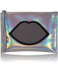 Lulu Guinness 25th Anniversary Silver Perspex Lip Zip Pouchette - Metallic