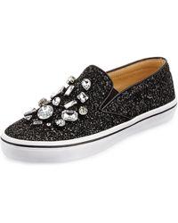 Kate Spade Slater Glitter  Crystal Slipon Sneaker Black 380b80b - Lyst