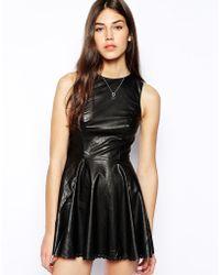 Jarlo Jemima Leather Look Skater Dress - Black