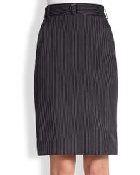 Akris Punto Pinstripe Belted Pencil Skirt - Lyst
