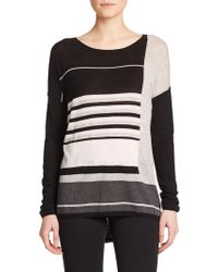 Vince Striped Long-Sleeve Sweater black - Lyst