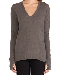 Enza Costa Cashmere Loose V Sweater - Lyst