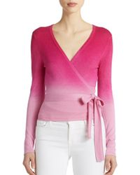 Diane von Furstenberg Ballerina Wrap Silk/Cashmere Sweater pink - Lyst