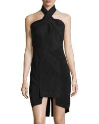 Sass & Bide Solid/Pinstripe Cross-Neck Dress black - Lyst