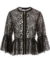 Elie Saab Lace And Ajoure Sheer Jacket - Black