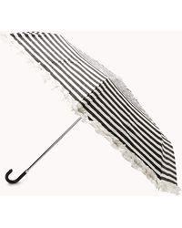 Forever 21 Striped Ruffle Umbrella - Black