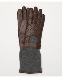 Carolina Amato Quilted Leather Glove With Extended Knit Cuff - Lyst