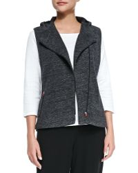Eileen Fisher Jacquard Stretch Hooded Zip-front Vest - Lyst