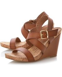 Dune Grainne Leather and Cork Detail Wedge Sandals - Lyst