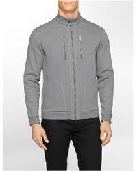 Calvin Klein White Label Classic Fit Textured Zip Front Moto Jacket - Lyst