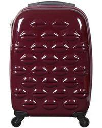 Lulu Guinness Black Cherry Hard Sided Lips Small Spinner Case - Red
