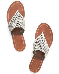 Tory Burch Daisy Perforated Flat Thong Sandals - Ivory - Lyst