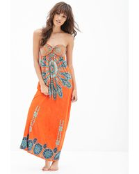 Forever 21 Strapless Printed Maxi Dress - Lyst