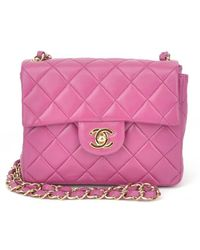 Chanel Authentic Pre-owned Fuchsia Lambskin Mini Flap - Lyst