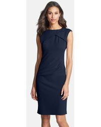 Adrianna Papell Pleated Crepe Dress - Lyst