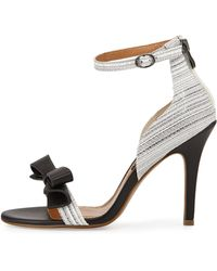 Kay Unger Marlee Striped Leather Bow Sandal black - Lyst