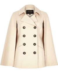 River Island Light Beige Double Breasted Trench Cape - Natural