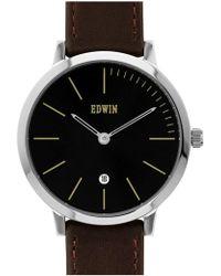 Edwin - 'kenny' Leather Strap Watch - Lyst
