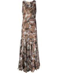 Vera Wang Poppy-Print Gauze Dress - Grey
