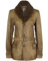 Ralph Lauren Blue Label - Shearling Collar Leather Jacket - Lyst
