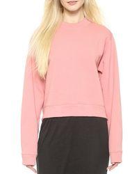 Acne Studios Bird Fleece Sweater Pink - Lyst