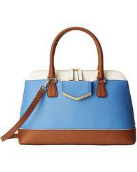 Calvin Klein Blue Saffiano Satchel - Lyst
