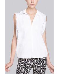 Natori Cotton Shirting Sleeveless Collar Shirt - Lyst