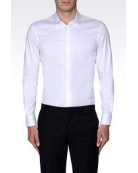Emporio Armani Slim Fit Shirt In Stretch Cotton Poplin - Lyst