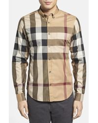 Burberry Brit 'Fred' Trim Fit Sport Shirt beige - Lyst