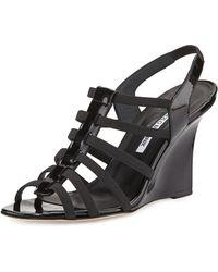 Manolo Blahnik Iaggia Patent Wedge Sandal - Lyst