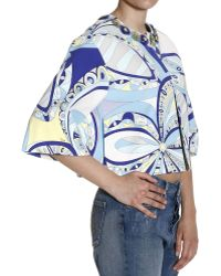 Emilio Pucci Jacket 3/4 Sleeve Collarless With Stones Print Flowers Power multicolor - Lyst