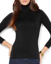 Ralph Lauren Lauren Silk Blend Turtleneck Sweater - Lyst