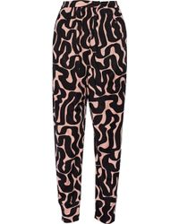 Issa Ivy Printed Satin-jersey Tapered Pants - Lyst