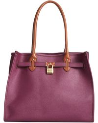 Tommy Hilfiger Saffiano Leather Th Heritage Lock Tote - Lyst