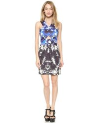 Milly Floral Mirage Dress - Blue/Black - Lyst
