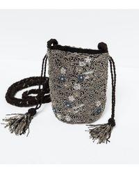 Zara Black Drawstring Bag - Lyst