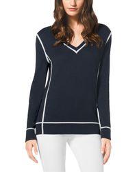 Michael Kors V-Neck Cotton Sweater, Petite - Lyst