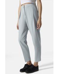 Topshop Straight Leg Crop Pants blue - Lyst