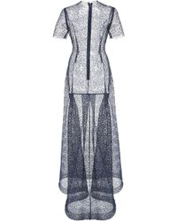 Katie Ermilio Flounce Back Netted Lace Tee Gown blue - Lyst