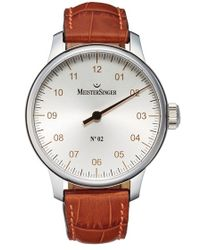 Meistersinger 'no.02' Hand Wound Single Hand Leather Strap Watch - Red