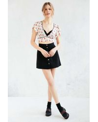 b194f39dce3 Cooperative - Calico Cropped Petal-sleeve Blouse - Lyst