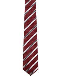 Corneliani 8.5 Stripe Silk Tie - Red