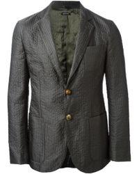 Giorgio Armani Gray Quilted Blazer - Lyst