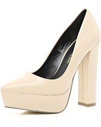 River Island Nude Chunky Platform Point Pumps - Lyst