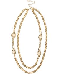 River Island Gold Tone Double Chain Faux Pearl Necklace - Lyst