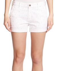 AG Adriano Goldschmied The Tristan Printed Denim Shorts white - Lyst