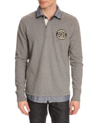Tommy Hilfiger Long-Sleeved Grey Polo Shirt With 2In1 Finish - Lyst