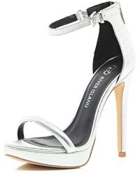 River Island Silver Platform Barely There Sandals - Lyst
